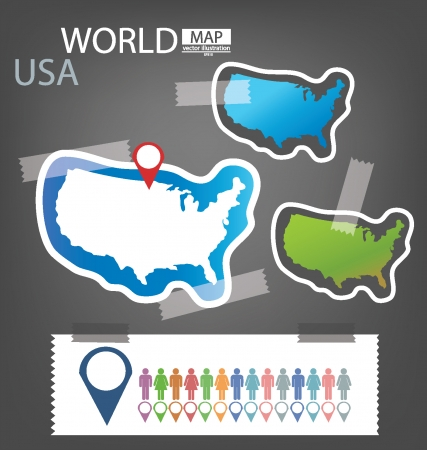 USA, Map vector Illustration Vector