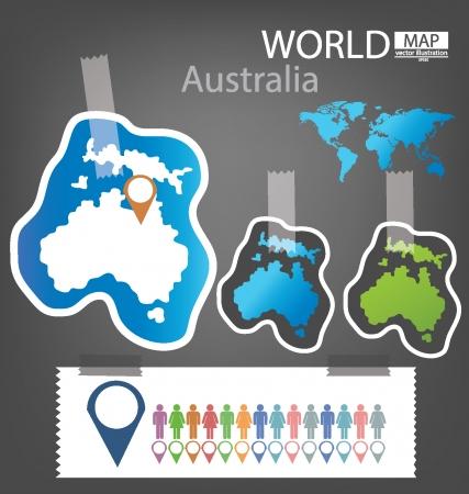 Australia, World Map vector Illustration Stock Vector - 25438069