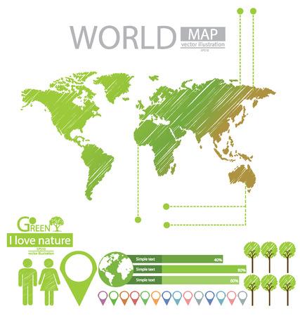 info graphics, Tree, Sketch, Go green, World Map vector Illustration Stock Vector - 25438074