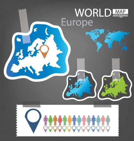 Europe, World Map vector Illustration Stock Vector - 25438076