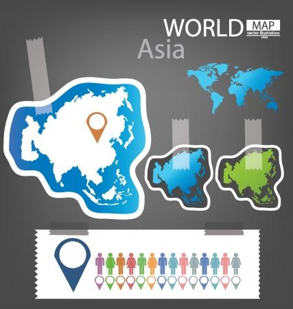 Asia, World Map vector Illustration Stock Vector - 25438077
