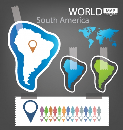 South america, World Map vector Illustration Stock Vector - 25438078