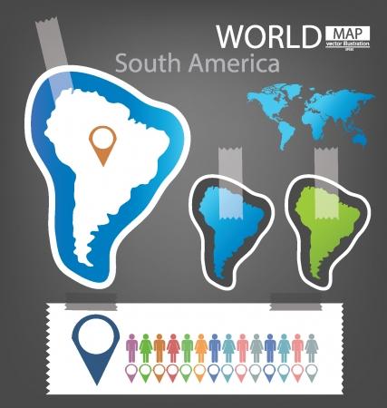 South america, World Map vector Illustration Stock Vector - 25438078