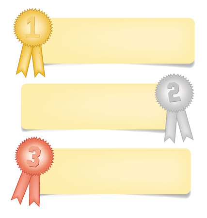 paper notes: Paper Notes, Gold, silver and bronze award ribbons vector illustration