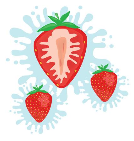 fruitage: strawberry splash vector illustration