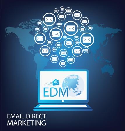direct marketing: email direct marketing vector Illustration Illustration