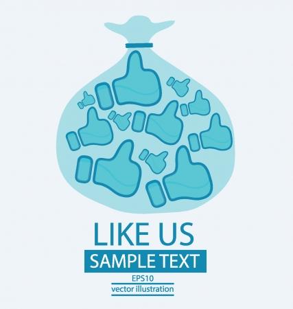 vote here: Bag, Like button vector illustration Illustration