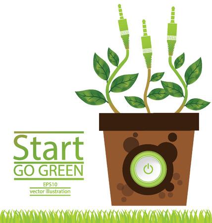 jack pot: Va el concepto verde, Save ilustraci�n vectorial mundo