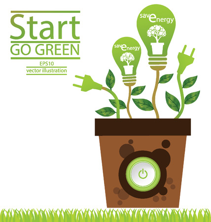 energy save: Go green concept, Save world illustration