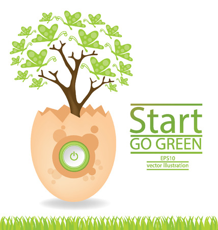 broken egg: Go green concept, Save world illustration