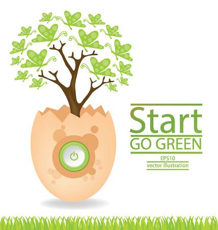 broken egg: Go green concept, Save world illustration