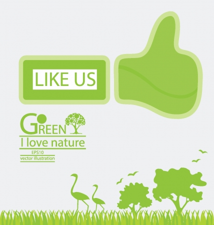 Go green concept, Like symbol illustration Vector