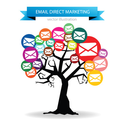 direct mail: email direct marketing concept Illustration