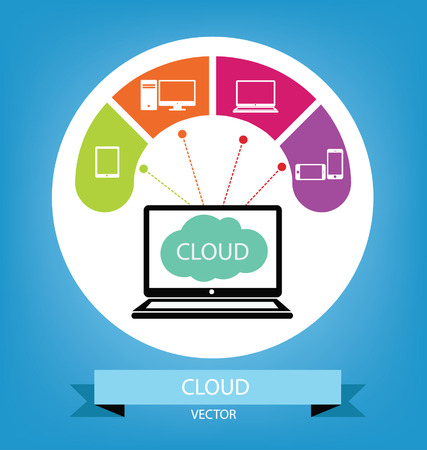 mobile marketing: Cloud computing concept illustration Illustration