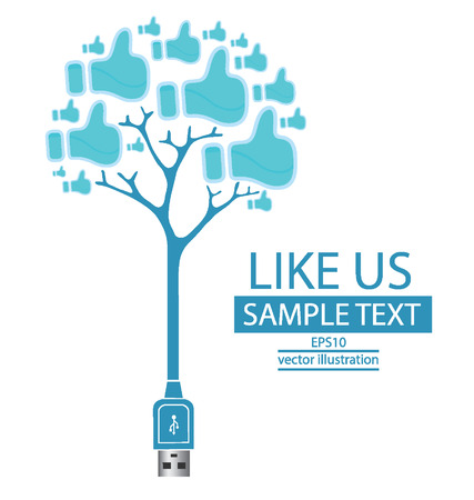 Usb cable,  Like button,  Tree design vector illustration  Vector
