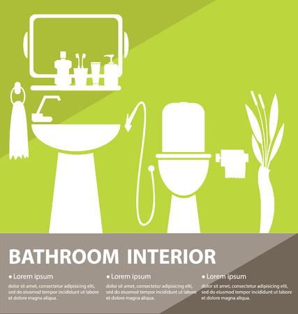 toiletry: Bathroom interior vector illustration Illustration
