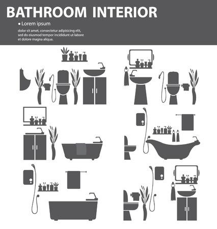 Ванная комната интерьер векторные иллюстрации