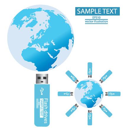 USB flash drives, connection, Modern globe  Vector