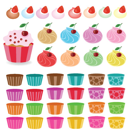 Cupcakes set illustration  Vector