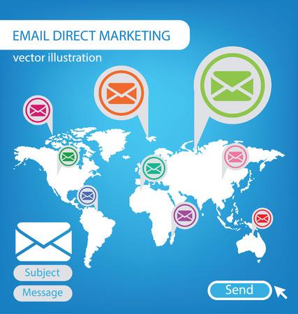 direct marketing: email direct marketing concept vector Illustration Illustration