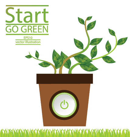 strat: Go green concept, Save world vector illustration