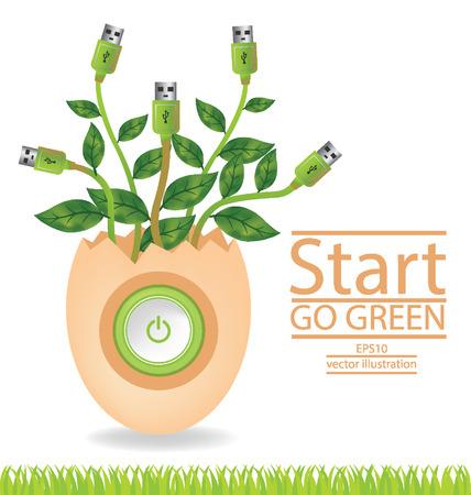 broken eggs: Go green concept, Save world vector illustration