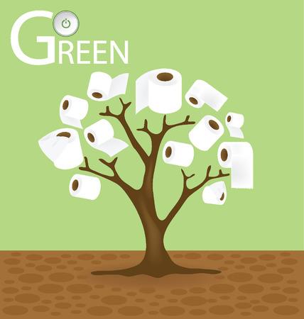 toilet paper art: toilet paper tree illustration