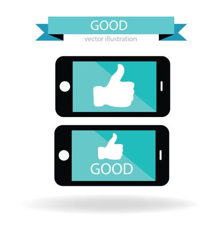 Social media, Hand signs vector, Good concept Vector