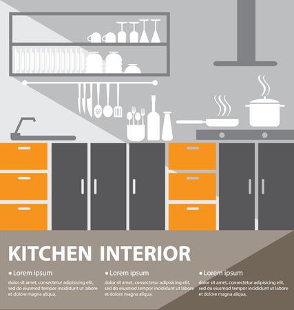 kitchen interior vector illustration