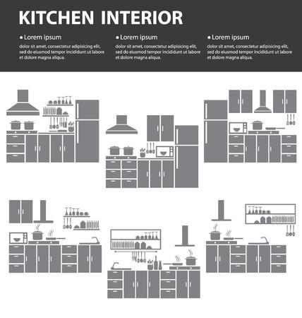 modern kitchen: kitchen interior vector illustration