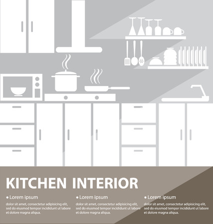 kitchen sink: kitchen interior vector illustration