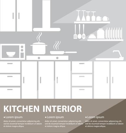 kitchen interior vector illustration Banco de Imagens - 25660456