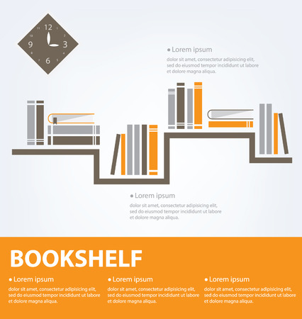 books placed on a bookshelf Vector