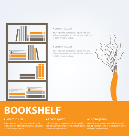 book shelf: books placed on a bookshelf