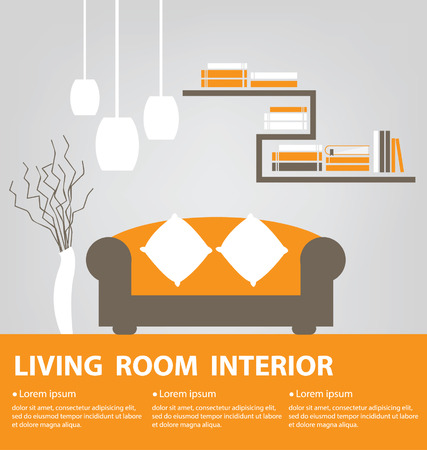 living room wall: Living Room vector illustration Illustration
