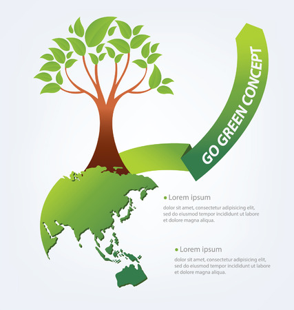 environmentally friendly: Go green concept  Save world Illustration