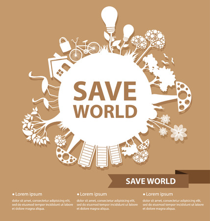 energy save: Go green concept  Save world Illustration