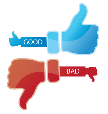 Social media  Hand signs vector  Good and bad concept  Vector