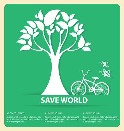 Go green concept save world vector Illustration
