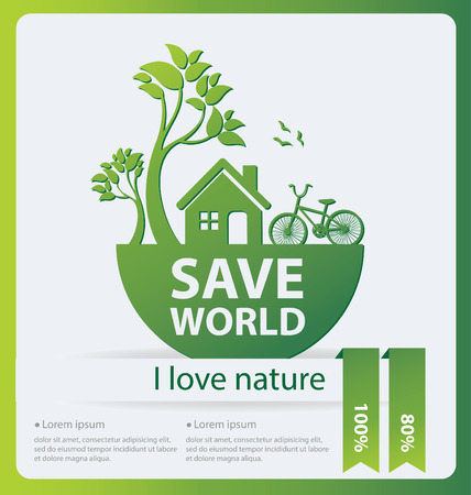 Go green concept save world vector Illustration Vector