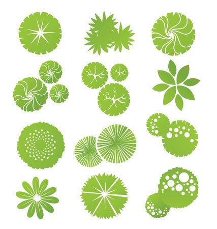 Árboles vista superior de diseño del paisaje Ilustración de vector