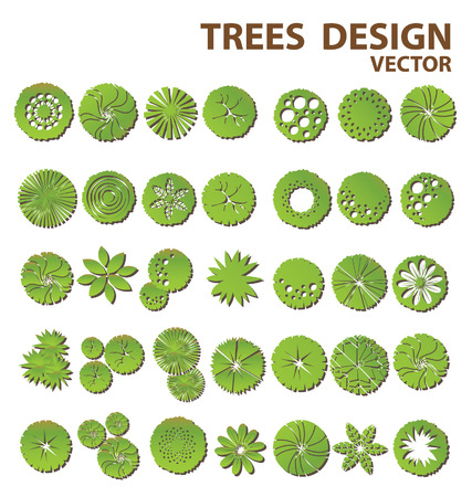견해: 조경 설계를위한 나무 평면도