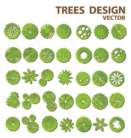 groene boom: Bomen bovenaanzicht voor landschapsontwerp Stock Illustratie