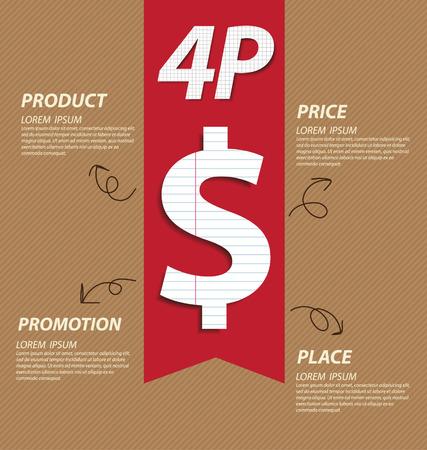 Ilustraci�n del concepto de marketing mix 4P Empresas vector