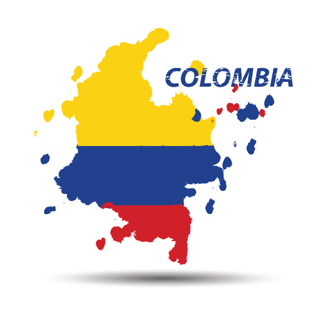 Watercolor in Colombia flag concept Vector