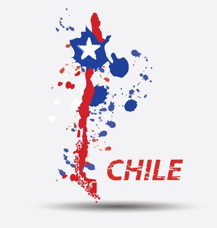 칠레 플래그 개념의 수채화 일러스트