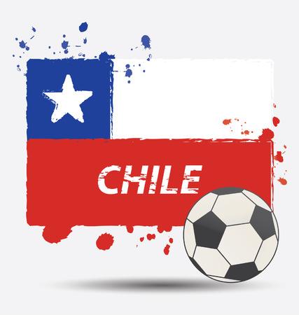 bandera de chile: Acuarela en concepto de bandera de Chile Vectores