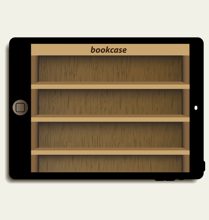 tablet computer with wooden bookcase background on screen for ebook Vector
