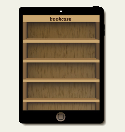 tablet computer with wooden bookcase background on screen for ebook