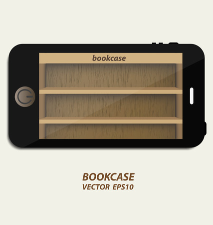 Smartphone with wooden bookcase background on screen for ebook Vector